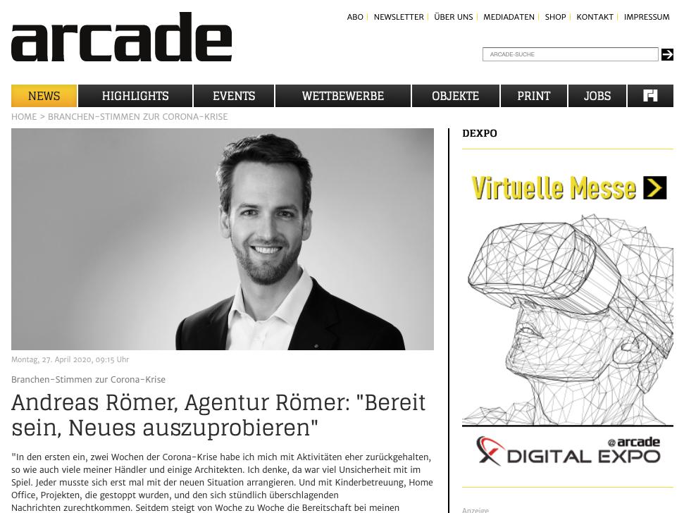 Interview zur Corona-Krise im renommierten Design-Fachmagazin Arcade